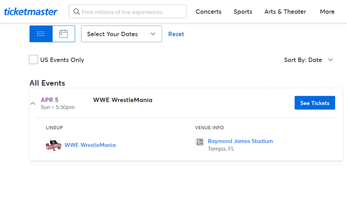 WWE WrestleMania 36 Tickets